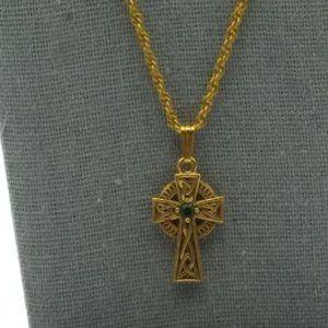 Vintage Celtic Cross Pendant Necklace, Green Stone